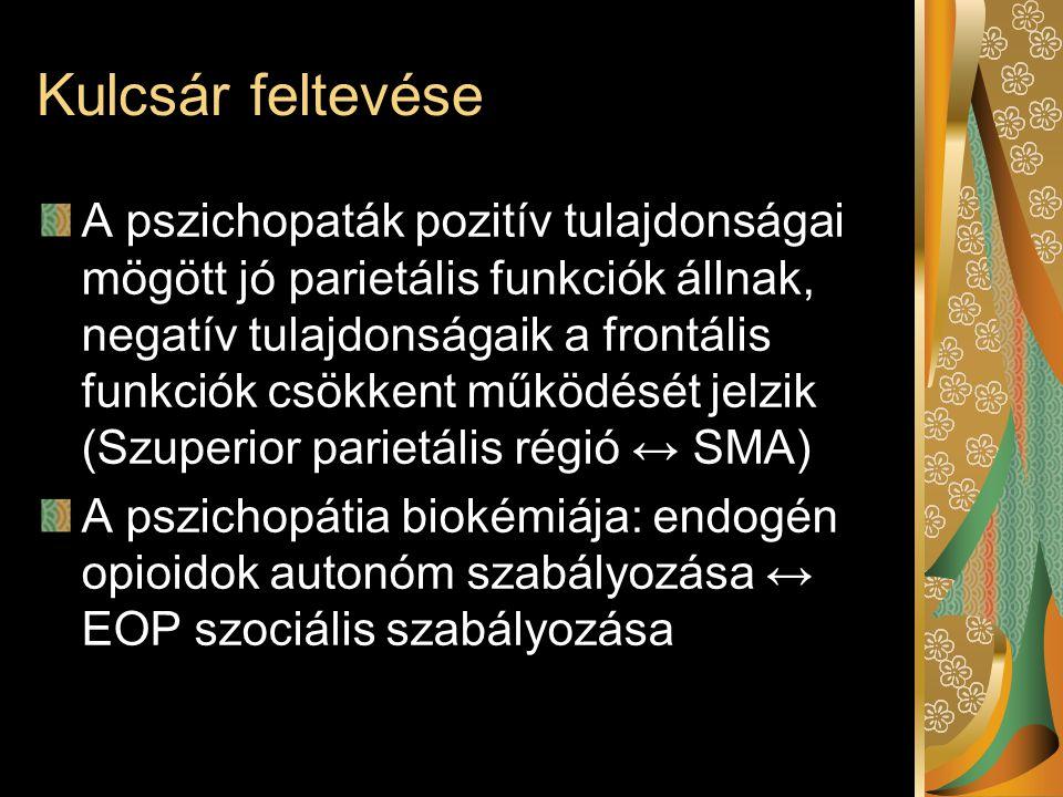 Kulcsár feltevése A pszichopaták pozitív tulajdonságai mögött jó parietális funkciók állnak, negatív tulajdonságaik a frontális funkciók csökkent működését jelzik (Szuperior parietális régió ↔ SMA) A pszichopátia biokémiája: endogén opioidok autonóm szabályozása ↔ EOP szociális szabályozása