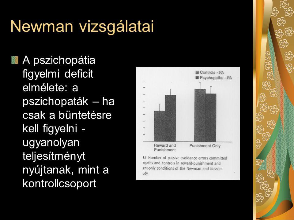 Newman vizsgálatai A pszichopátia figyelmi deficit elmélete: a pszichopaták – ha csak a büntetésre kell figyelni - ugyanolyan teljesítményt nyújtanak,