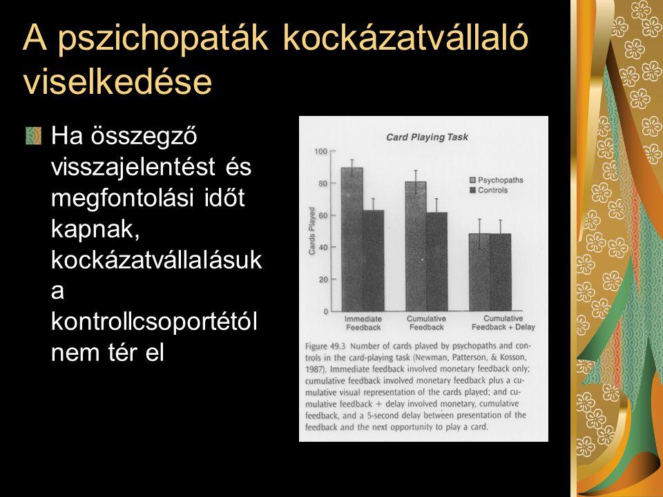 A pszichopaták kockázatvállaló viselkedése Ha összegző visszajelentést és megfontolási időt kapnak, kockázatvállalásuk a kontrollcsoportétól nem tér e