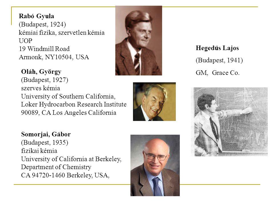 Rabó Gyula (Budapest, 1924) kémiai fizika, szervetlen kémia UOP 19 Windmill Road Armonk, NY10504, USA Oláh, György (Budapest, 1927) szerves kémia Univ
