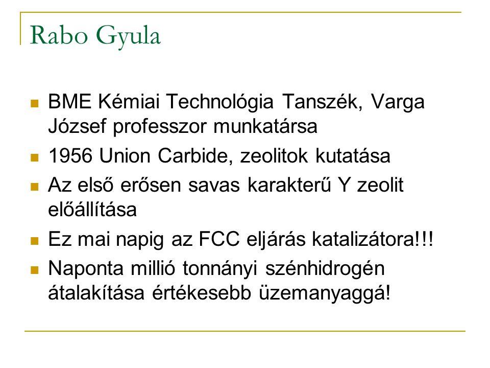 Rabo Gyula BME Kémiai Technológia Tanszék, Varga József professzor munkatársa 1956 Union Carbide, zeolitok kutatása Az első erősen savas karakterű Y z