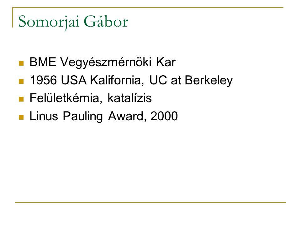 Somorjai Gábor BME Vegyészmérnöki Kar 1956 USA Kalifornia, UC at Berkeley Felületkémia, katalízis Linus Pauling Award, 2000