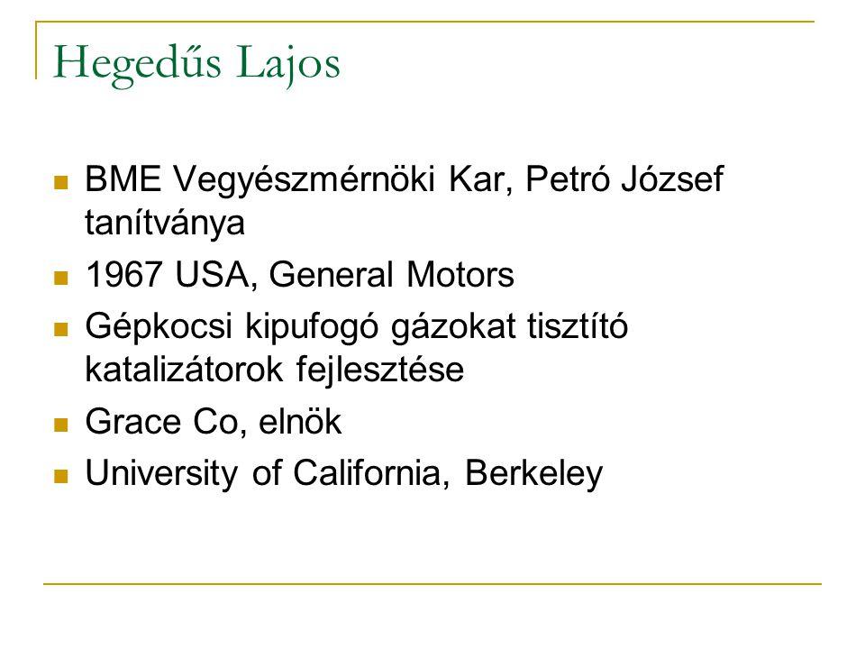 Hegedűs Lajos BME Vegyészmérnöki Kar, Petró József tanítványa 1967 USA, General Motors Gépkocsi kipufogó gázokat tisztító katalizátorok fejlesztése Gr