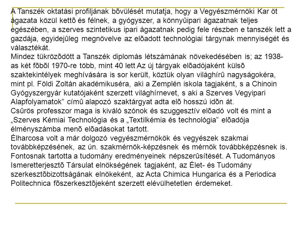 A Tanszék oktatási profiljának bõvülését mutatja, hogy a Vegyészmérnöki Kar öt ágazata közül kettõ és félnek, a gyógyszer, a könnyûipari ágazatnak tel