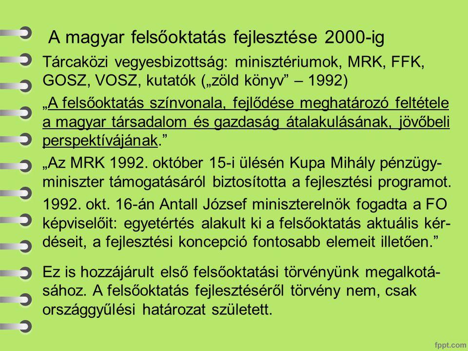 """A magyar felsőoktatás fejlesztése 2000-ig Tárcaközi vegyesbizottság: minisztériumok, MRK, FFK, GOSZ, VOSZ, kutatók (""""zöld könyv – 1992) """"A felsőoktatás színvonala, fejlődése meghatározó feltétele a magyar társadalom és gazdaság átalakulásának, jövőbeli perspektívájának. """"Az MRK 1992."""