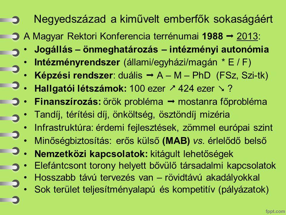 Negyedszázad a kiművelt emberfők sokaságáért A Magyar Rektori Konferencia terrénumai 1988  2013: Jogállás – önmeghatározás – intézményi autonómia Intézményrendszer (állami/egyházi/magán * E / F) Képzési rendszer: duális  A – M – PhD (FSz, Szi-tk) Hallgatói létszámok: 100 ezer  424 ezer  .