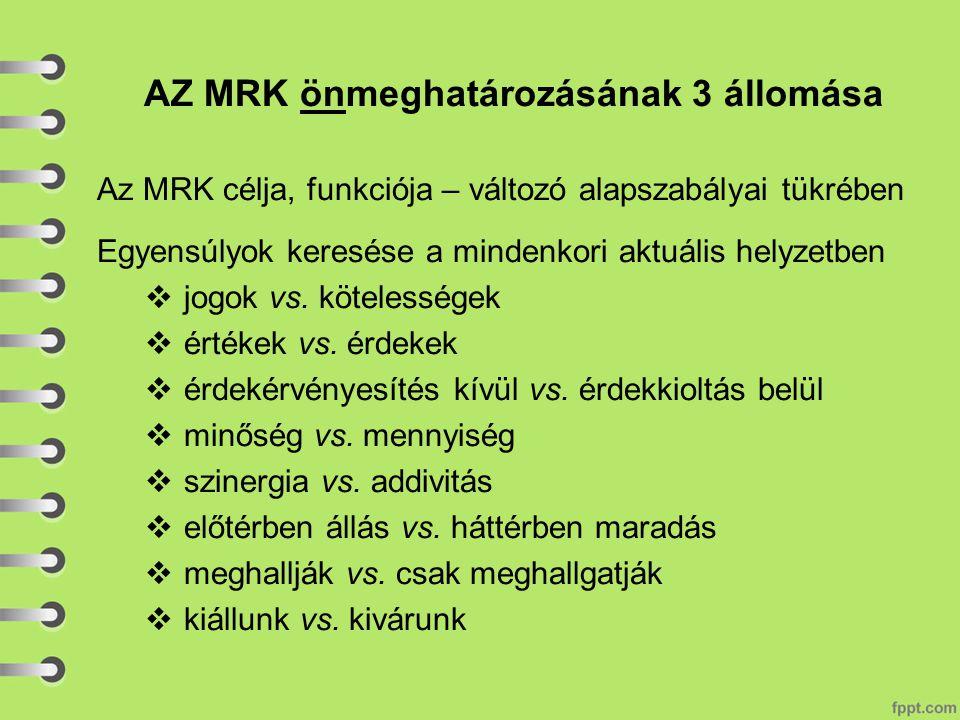 AZ MRK önmeghatározásának 3 állomása Az MRK célja, funkciója – változó alapszabályai tükrében Egyensúlyok keresése a mindenkori aktuális helyzetben  jogok vs.