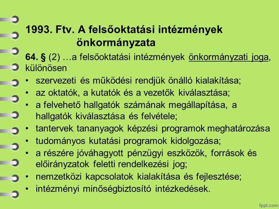 1993. Ftv. A felsőoktatási intézmények önkormányzata 64.