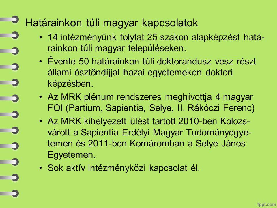 Határainkon túli magyar kapcsolatok 14 intézményünk folytat 25 szakon alapképzést hatá- rainkon túli magyar településeken.
