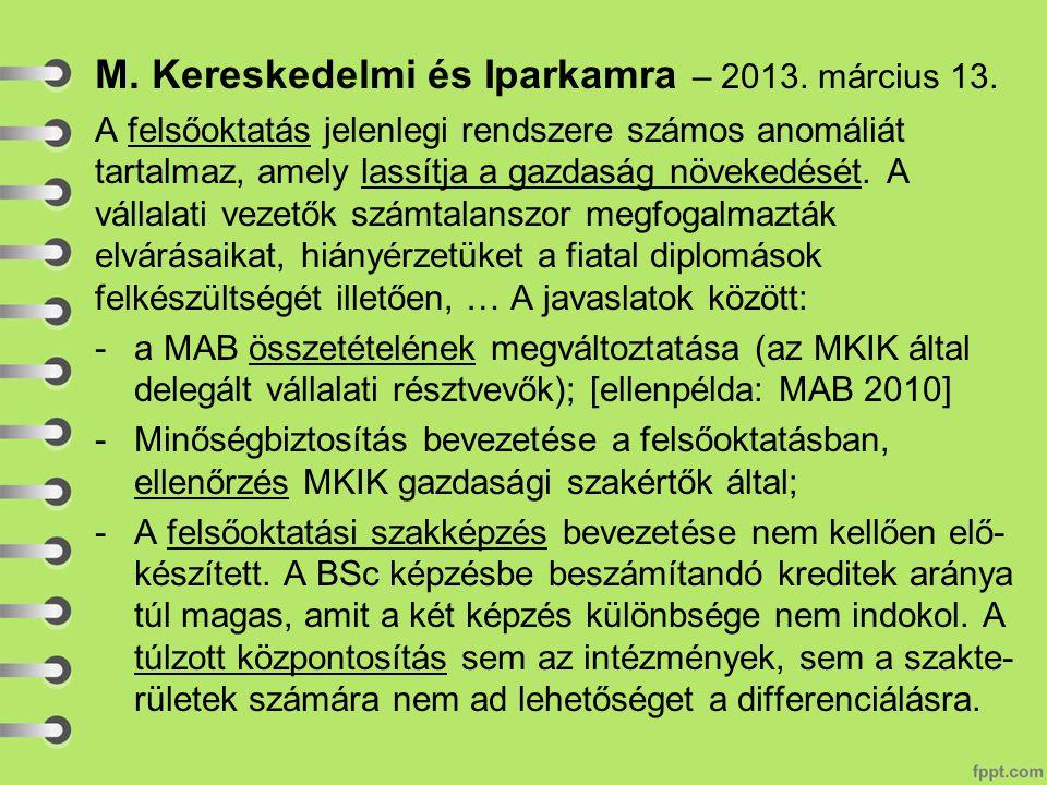 M. Kereskedelmi és Iparkamra – 2013. március 13.