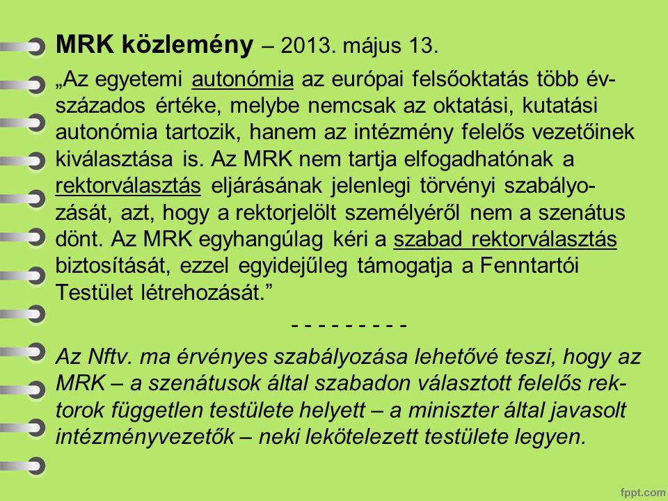 MRK közlemény – 2013.május 13.
