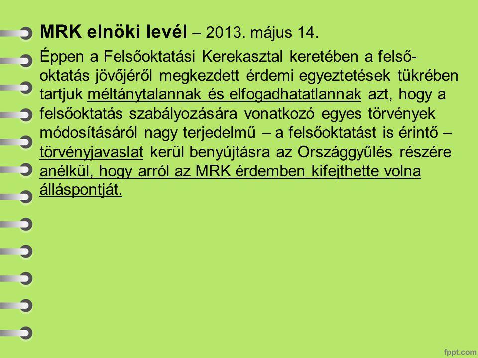 MRK elnöki levél – 2013. május 14.