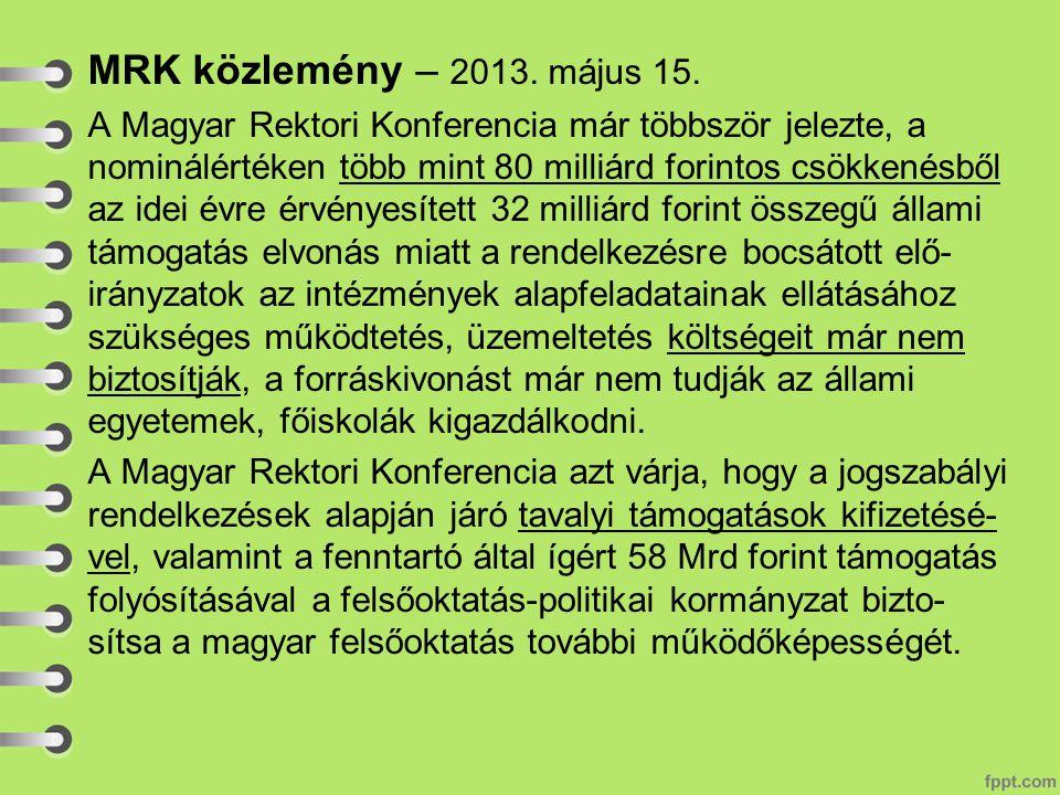MRK közlemény – 2013.május 15.