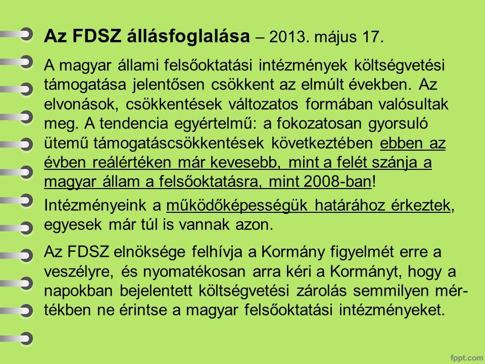 Az FDSZ állásfoglalása – 2013. május 17.
