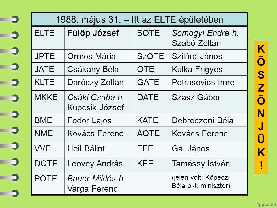 1988.május 31. – Itt az ELTE épületében ELTEFülöp JózsefSOTESomogyi Endre h.