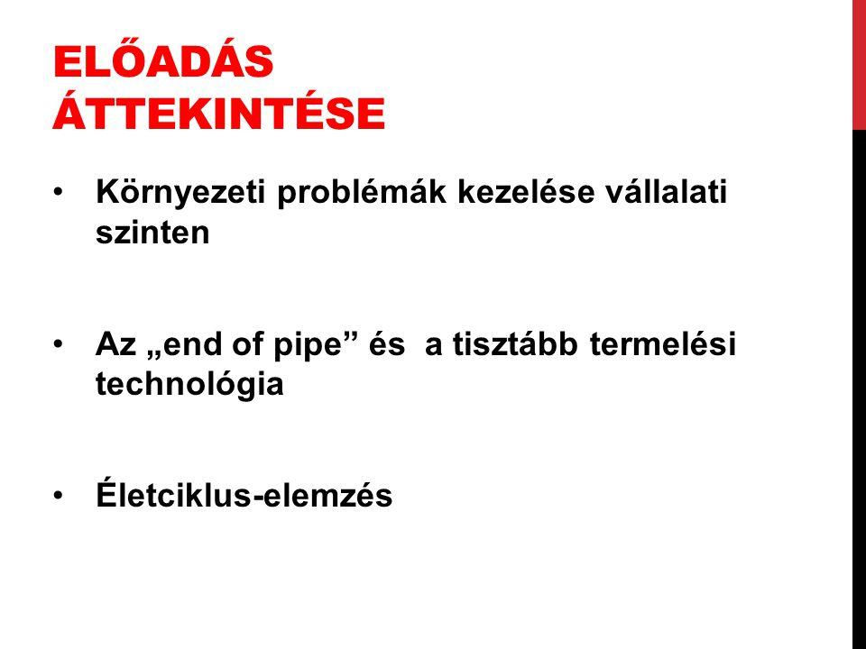 """ELŐADÁS ÁTTEKINTÉSE Környezeti problémák kezelése vállalati szinten Az """"end of pipe"""" és a tisztább termelési technológia Életciklus-elemzés"""