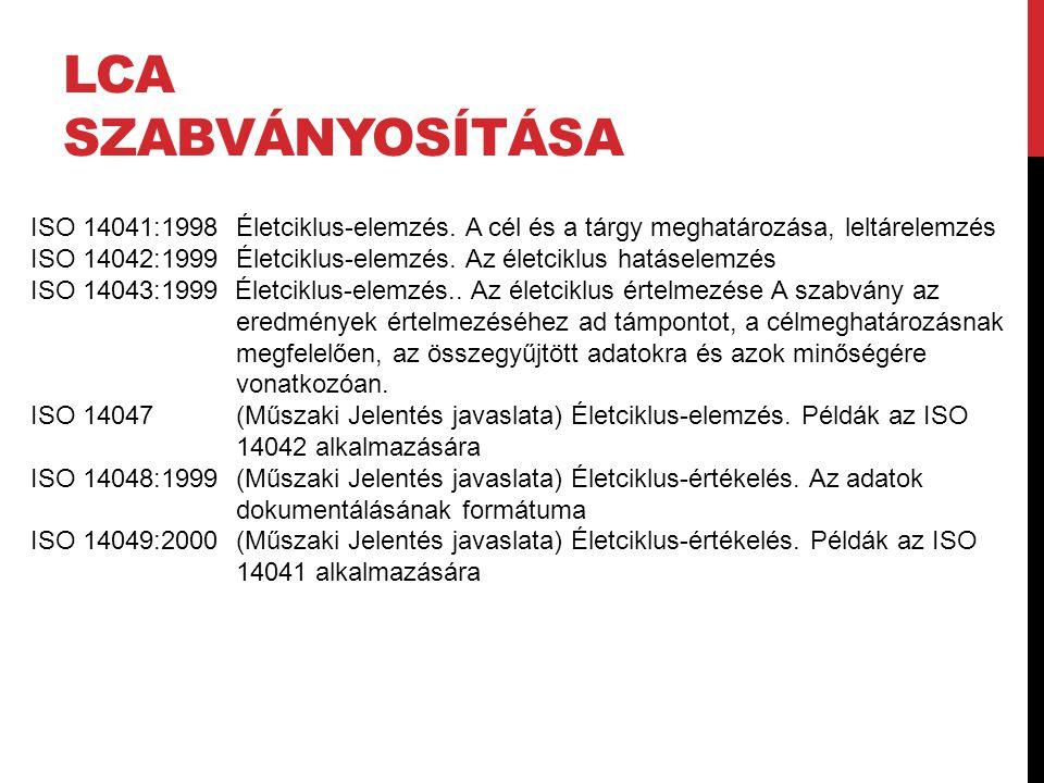LCA SZABVÁNYOSÍTÁSA ISO 14041:1998 Életciklus-elemzés. A cél és a tárgy meghatározása, leltárelemzés ISO 14042:1999Életciklus-elemzés. Az életciklus h