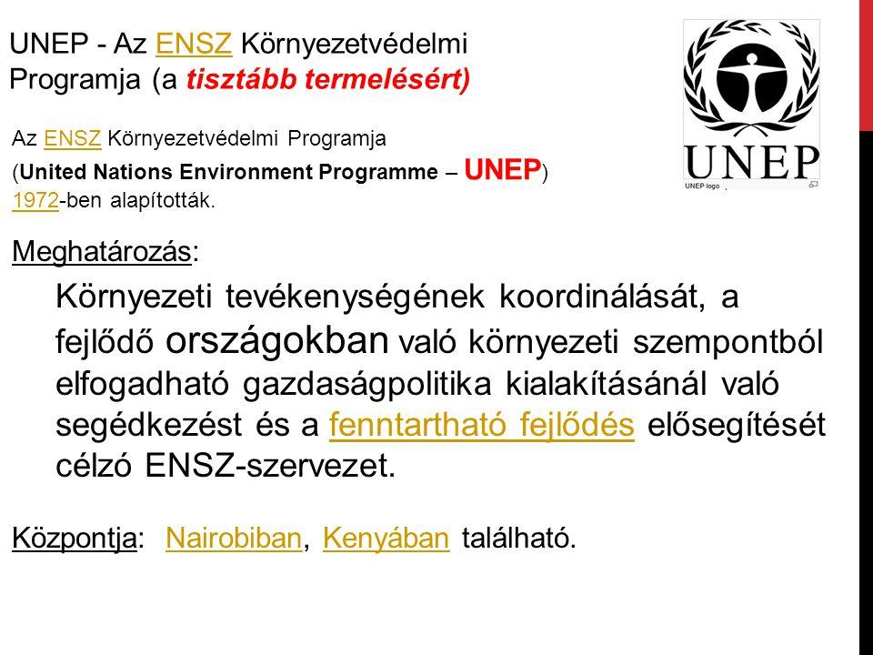 UNEP - Az ENSZ Környezetvédelmi Programja (a tisztább termelésért)ENSZ Az ENSZ Környezetvédelmi Programja (United Nations Environment Programme – UNEP