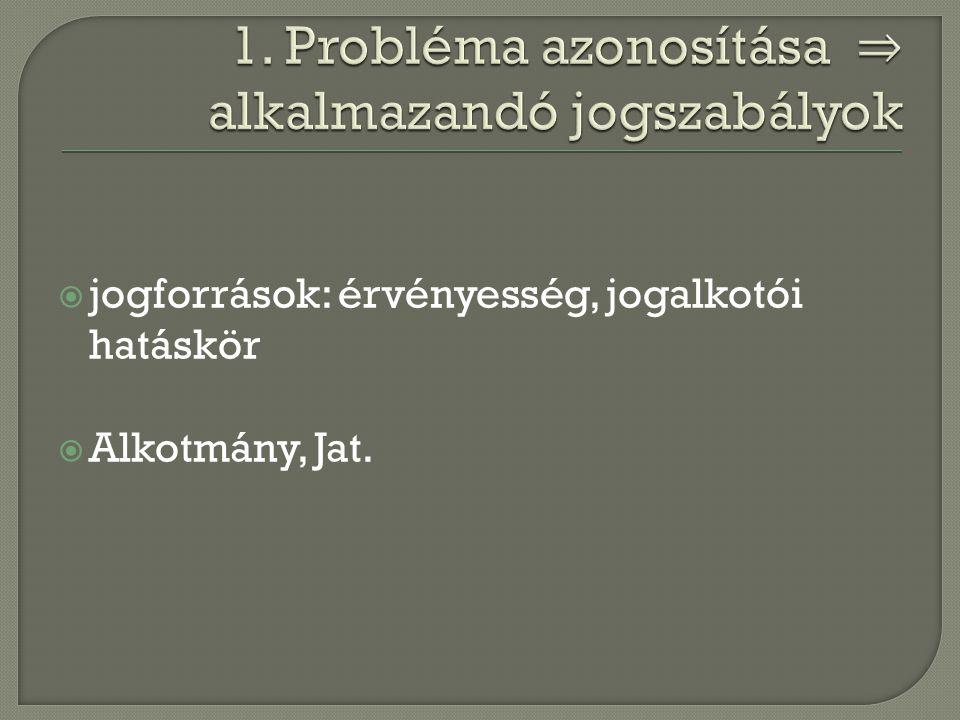 jogforrások: érvényesség, jogalkotói hatáskör  Alkotmány, Jat.