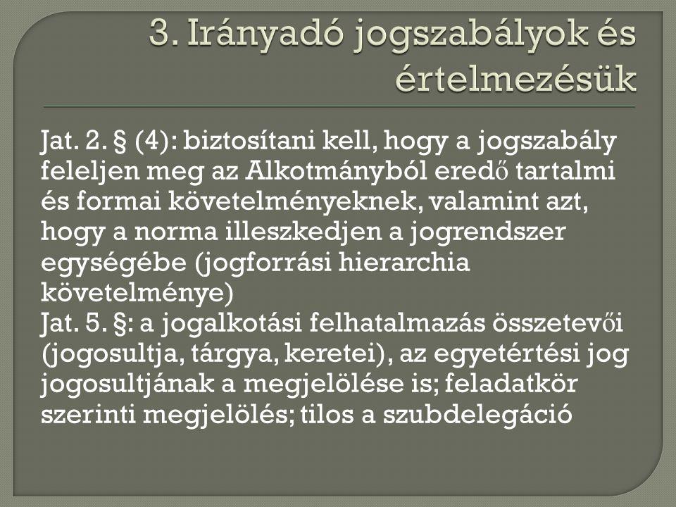 Jat. 2. § (4): biztosítani kell, hogy a jogszabály feleljen meg az Alkotmányból ered ő tartalmi és formai követelményeknek, valamint azt, hogy a norma