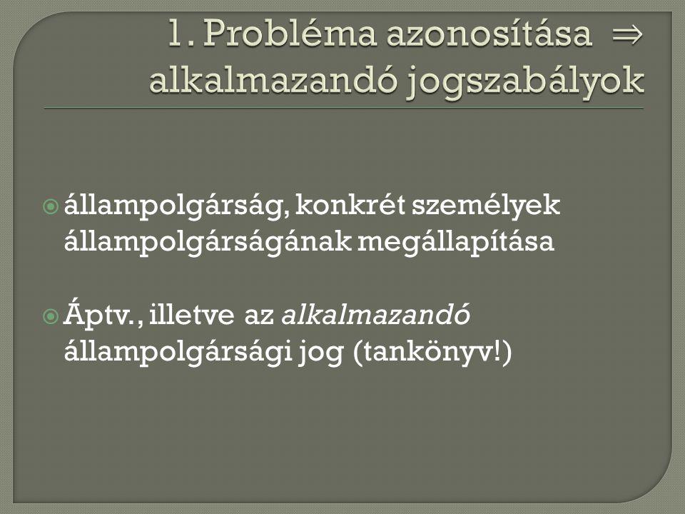  állampolgárság, konkrét személyek állampolgárságának megállapítása  Áptv., illetve az alkalmazandó állampolgársági jog (tankönyv!)