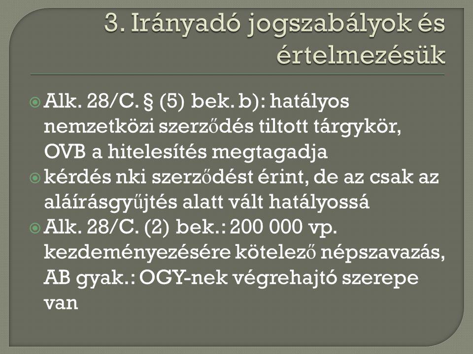  Alk. 28/C. § (5) bek. b): hatályos nemzetközi szerz ő dés tiltott tárgykör, OVB a hitelesítés megtagadja  kérdés nki szerz ő dést érint, de az csak