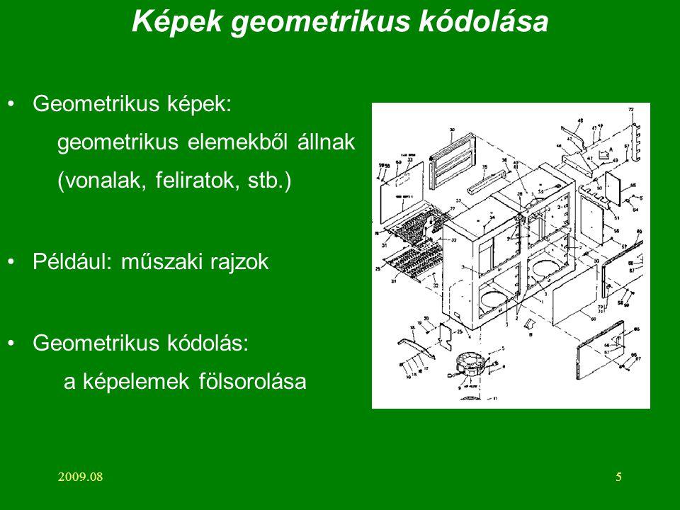2009.085 Képek geometrikus kódolása Geometrikus képek: geometrikus elemekből állnak (vonalak, feliratok, stb.) Például: műszaki rajzok Geometrikus kódolás: a képelemek fölsorolása