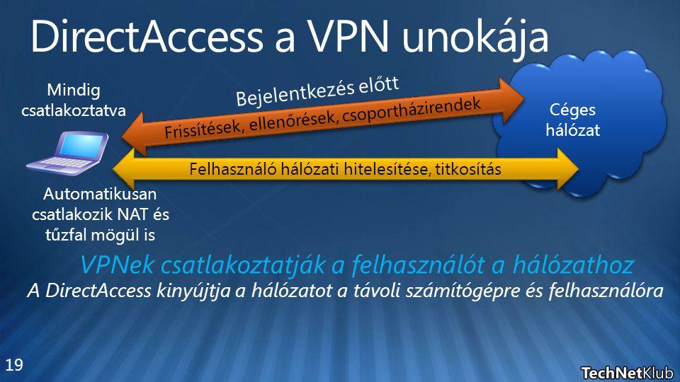 Céges hálózat Mindig csatlakoztatva Automatikusan csatlakozik NAT és tűzfal mögül is Frissítések, ellenőrések, csoportházirendek Bejelentkezés előtt F