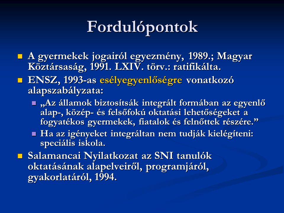 Fordulópontok A gyermekek jogairól egyezmény, 1989.; Magyar Köztársaság, 1991. LXIV. törv.: ratifikálta. A gyermekek jogairól egyezmény, 1989.; Magyar