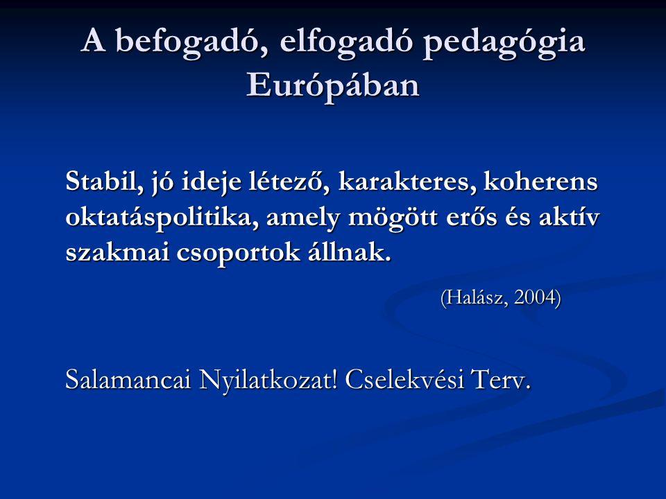 A befogadó, elfogadó pedagógia Európában Stabil, jó ideje létező, karakteres, koherens oktatáspolitika, amely mögött erős és aktív szakmai csoportok á
