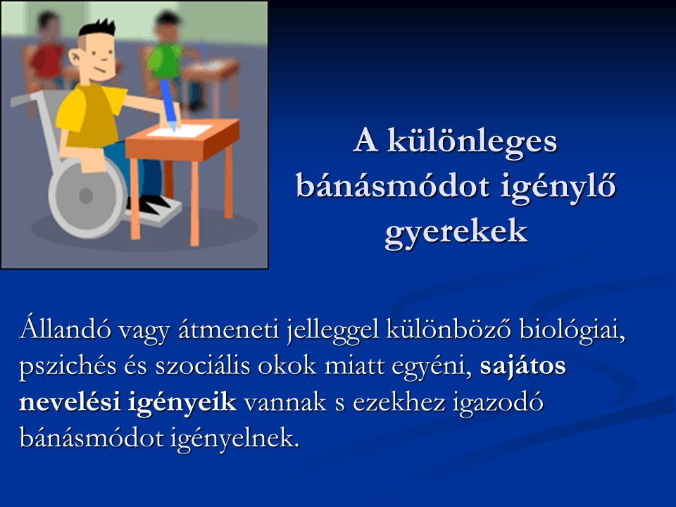 Különleges bánásmódot igénylő gyermekek Sajátos nevelési igényű tanulók (SNI) Sajátos nevelési igényű tanulók (SNI) Tanulási problémákkal küzdők Tanulási problémákkal küzdők Tanulási nehézség Tanulási nehézség Tanulási zavar Tanulási zavar Magatartási zavarokkal küzdők Magatartási zavarokkal küzdők Visszahúzódó, depresszív Visszahúzódó, depresszív Ellenséges, inkonzekvens Ellenséges, inkonzekvens Kivételes képességűek, tehetségesek Kivételes képességűek, tehetségesek