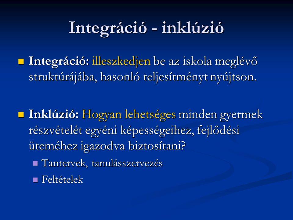 Integráció - inklúzió Integráció: illeszkedjen be az iskola meglévő struktúrájába, hasonló teljesítményt nyújtson. Integráció: illeszkedjen be az isko