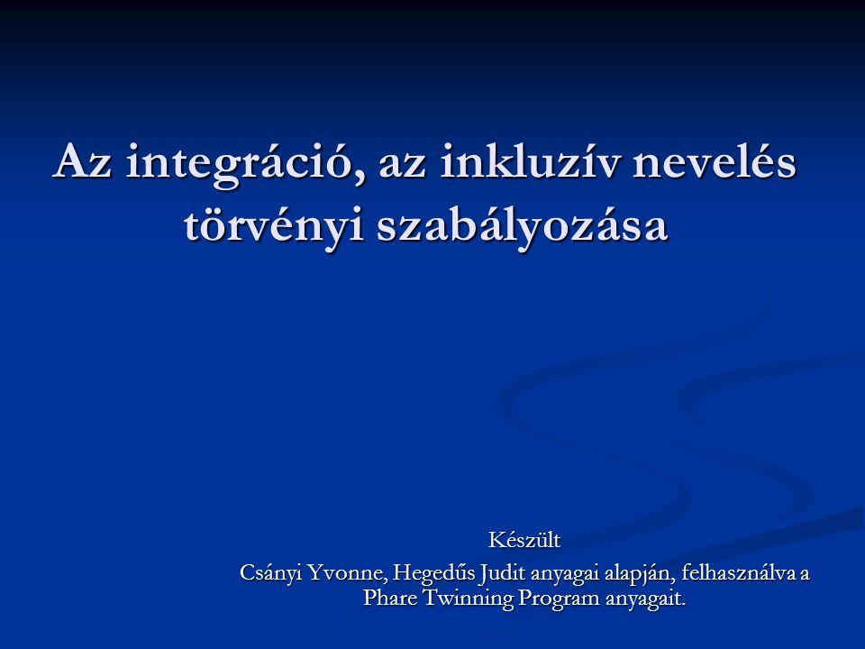 Az integráció, az inkluzív nevelés törvényi szabályozása Készült Csányi Yvonne, Hegedűs Judit anyagai alapján, felhasználva a Phare Twinning Program a