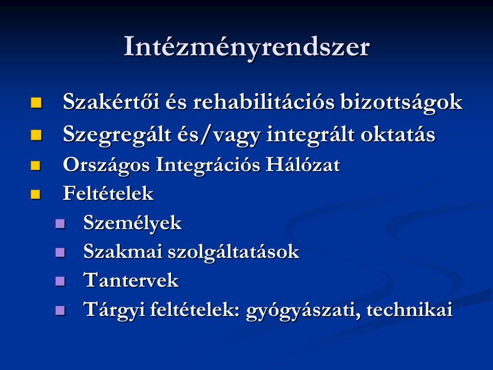 Intézményrendszer Szakértői és rehabilitációs bizottságok Szakértői és rehabilitációs bizottságok Szegregált és/vagy integrált oktatás Szegregált és/v