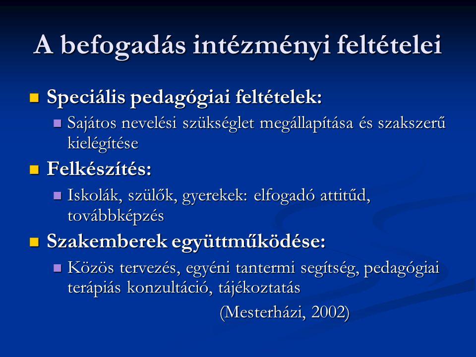 A befogadás intézményi feltételei Speciális pedagógiai feltételek: Speciális pedagógiai feltételek: Sajátos nevelési szükséglet megállapítása és szaks