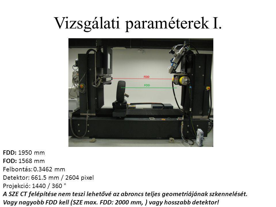 Vizsgálati paraméterek I. FDD: 1950 mm FOD: 1568 mm Felbontás: 0.3462 mm Detektor: 661.5 mm / 2604 pixel Projekció: 1440 / 360 ° A SZE CT felépítése n
