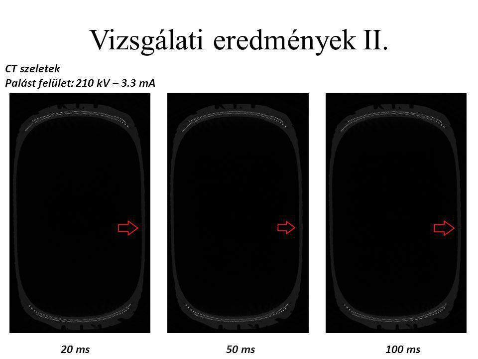 Vizsgálati eredmények II. CT szeletek Palást felület: 320 kV – 2.25 mA 20 ms50 ms100 ms