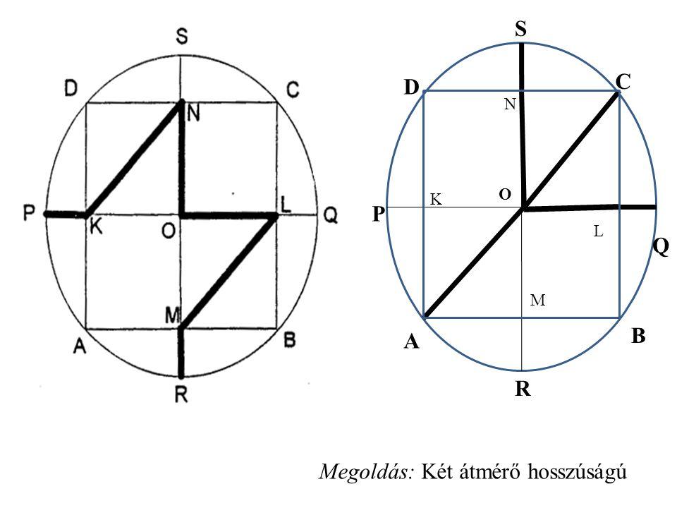 S Q B R A P D C N L M K O Megoldás: Két átmérő hosszúságú