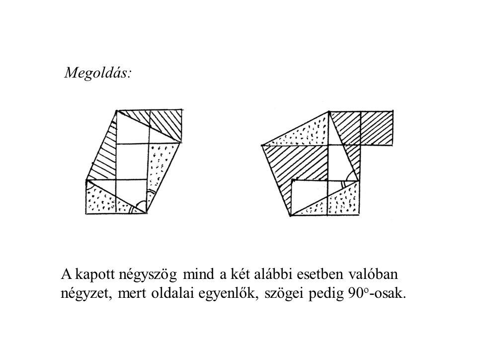 Megoldás: A kapott négyszög mind a két alábbi esetben valóban négyzet, mert oldalai egyenlők, szögei pedig 90 o -osak.