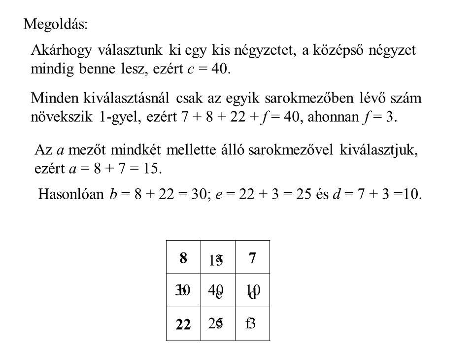 Hasonlóan b = 8 + 22 = 30; e = 22 + 3 = 25 és d = 7 + 3 =10. Megoldás: Akárhogy választunk ki egy kis négyzetet, a középső négyzet mindig benne lesz,