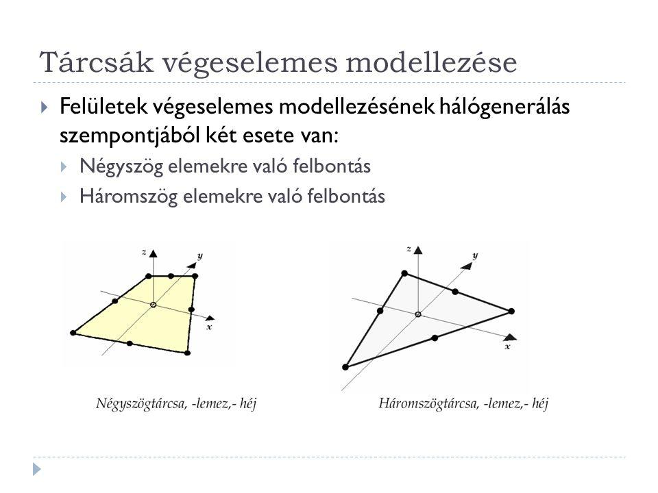 Tárcsák végeselemes modellezése  Felületek végeselemes modellezésének hálógenerálás szempontjából két esete van:  Négyszög elemekre való felbontás  Háromszög elemekre való felbontás