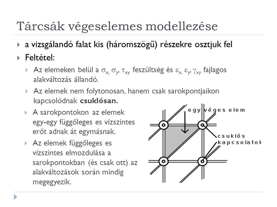 Tárcsák végeselemes modellezése  a vizsgálandó falat kis (háromszögű) részekre osztjuk fel  Feltétel:  Az elemeken belül a  x,  y,  xy feszültség és  x,  y,  xy fajlagos alakváltozás állandó.