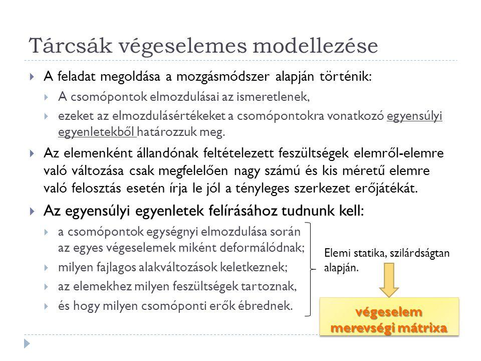 Tárcsák végeselemes modellezése  A feladat megoldása a mozgásmódszer alapján történik:  A csomópontok elmozdulásai az ismeretlenek,  ezeket az elmozdulásértékeket a csomópontokra vonatkozó egyensúlyi egyenletekből határozzuk meg.