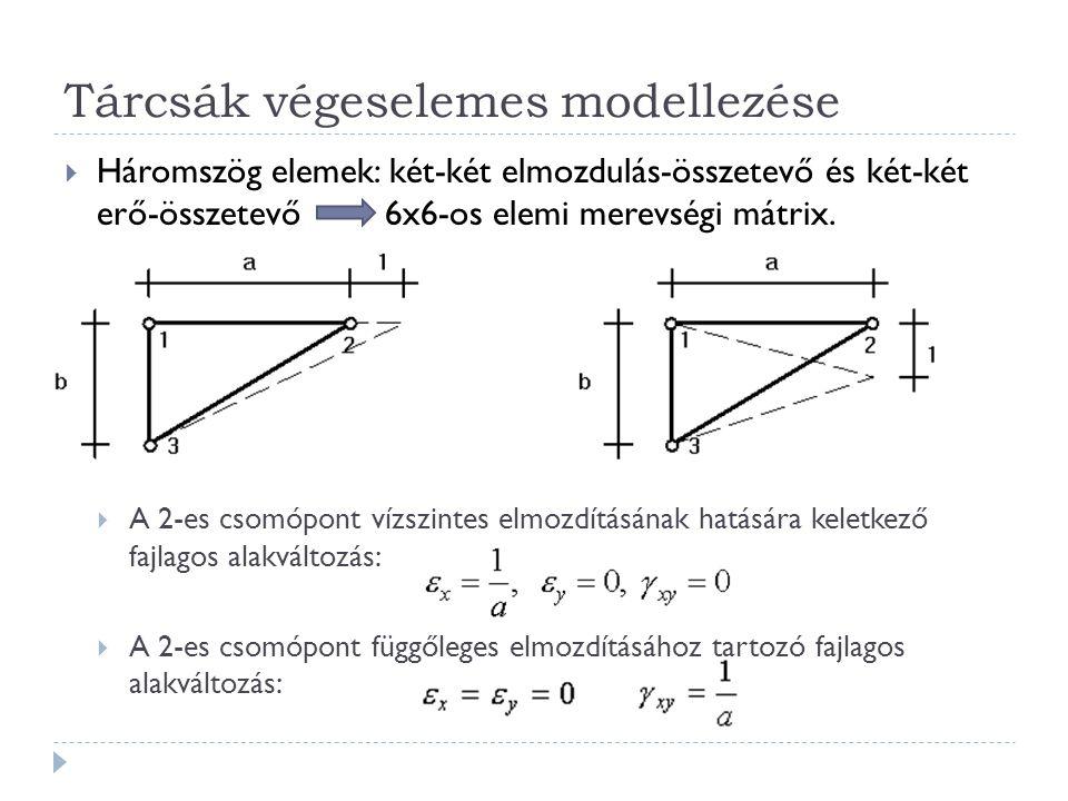 Tárcsák végeselemes modellezése  Háromszög elemek: két-két elmozdulás-összetevő és két-két erő-összetevő 6x6-os elemi merevségi mátrix.