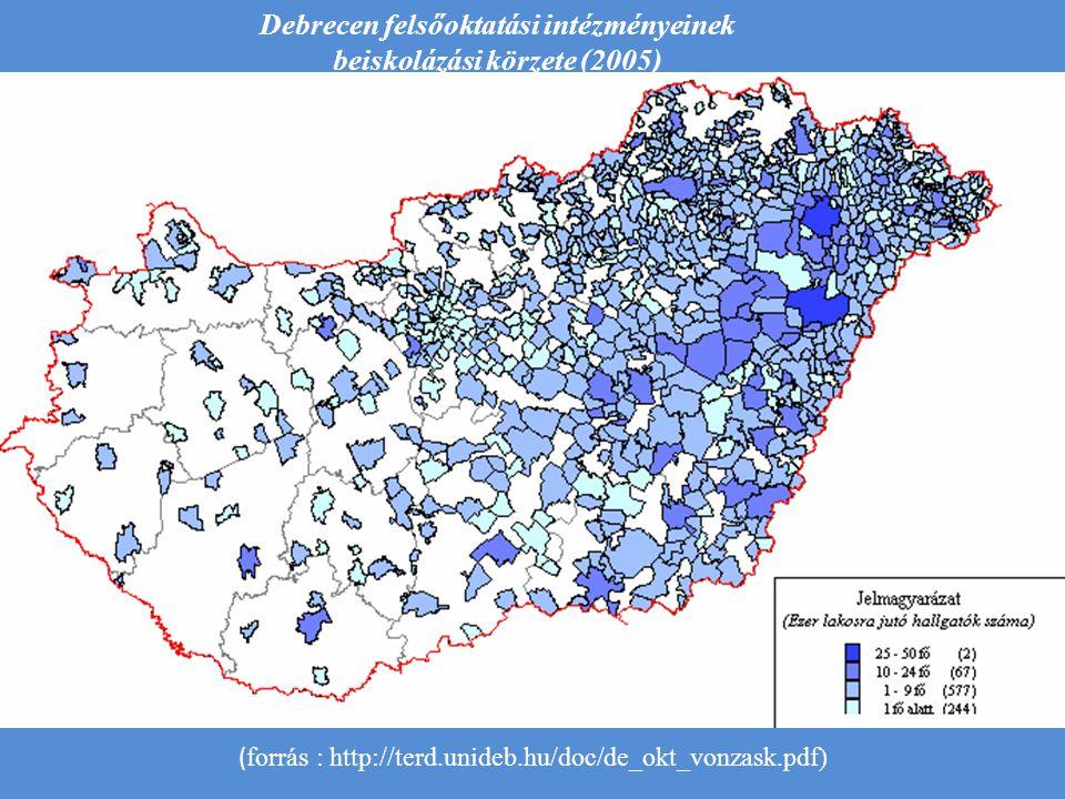 Debrecen felsőoktatási intézményeinek beiskolázási körzete (2005) ( forrás : http://terd.unideb.hu/doc/de_okt_vonzask.pdf)