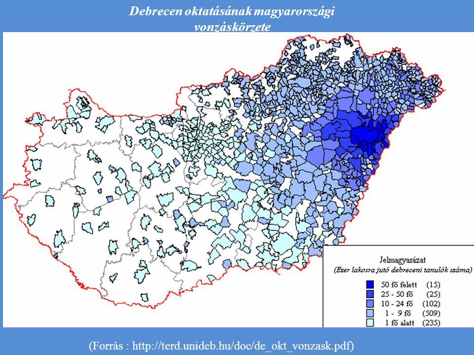 Debrecen oktatásának magyarországi vonzáskörzete (Forrás : http://terd.unideb.hu/doc/de_okt_vonzask.pdf)