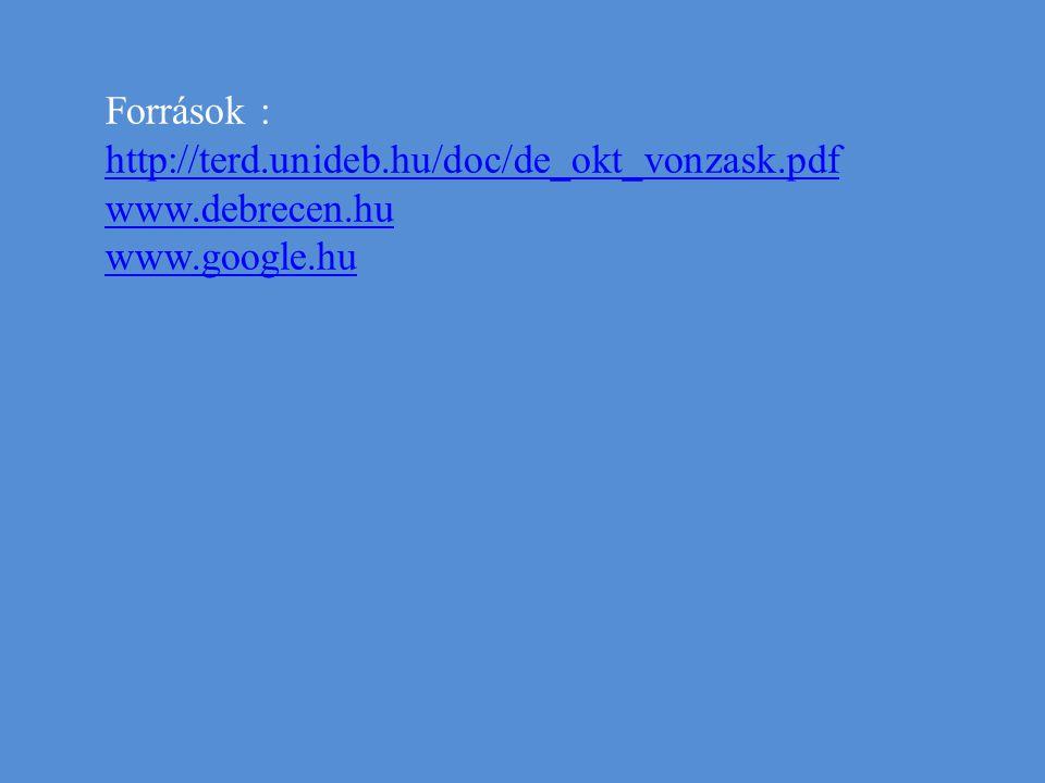 Források : http://terd.unideb.hu/doc/de_okt_vonzask.pdf http://terd.unideb.hu/doc/de_okt_vonzask.pdf www.debrecen.hu www.google.hu