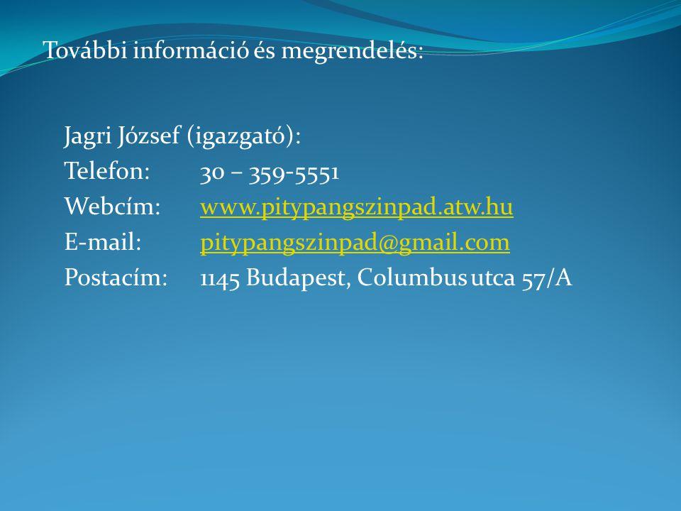 Jagri József (igazgató): Telefon:30 – 359-5551 Webcím:www.pitypangszinpad.atw.huwww.pitypangszinpad.atw.hu E-mail:pitypangszinpad@gmail.compitypangszinpad@gmail.com Postacím:1145 Budapest, Columbus utca 57/A További információ és megrendelés: