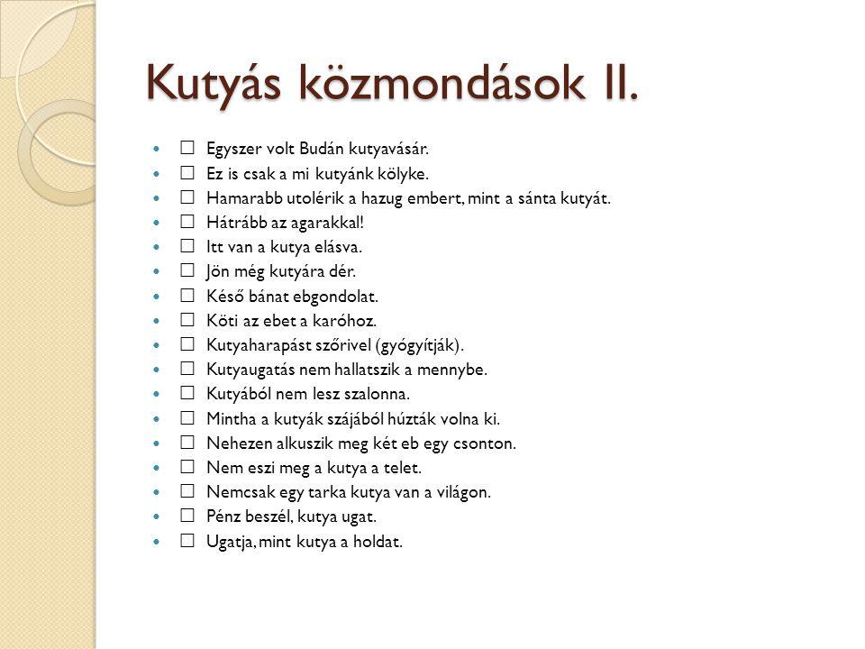 Kutyás közmondások II. Egyszer volt Budán kutyavásár.