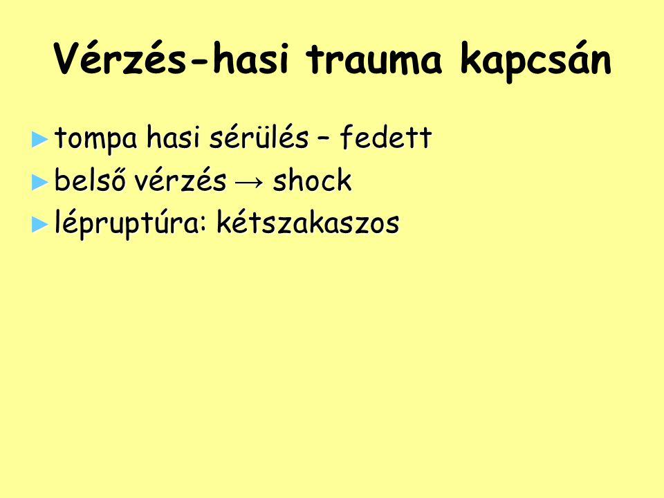 Vérzés-hasi trauma kapcsán ► tompa hasi sérülés – fedett ► belső vérzés → shock ► lépruptúra: kétszakaszos